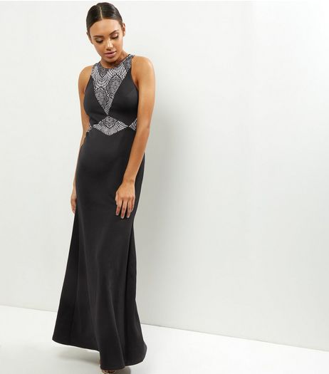 Black Lace Panel Maxi Dress | New Look