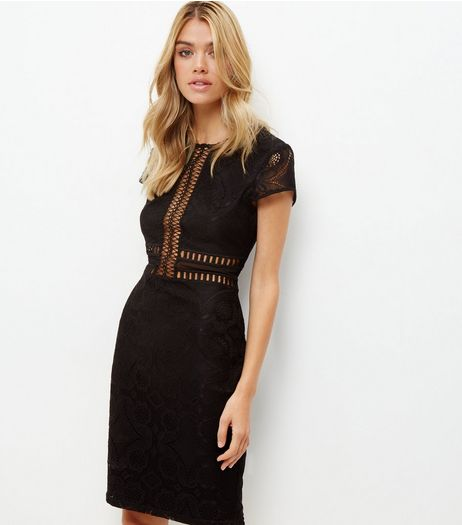 Black Premium Lace Mesh Panel Bodycon Dress | New Look