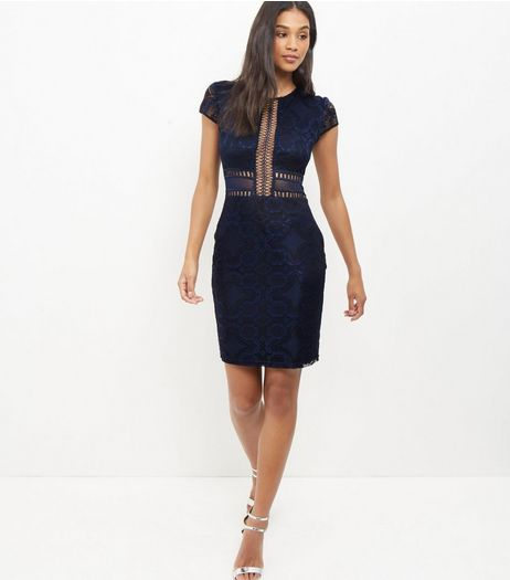 Navy Premium Lace Mesh Bodycon Dress  | New Look