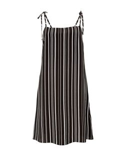 Monochrome Stripe Tie Strap Slip Dress | New Look