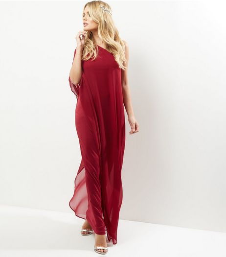 Burgundy Off the Shoulder Drape Maxi Dress | New Look