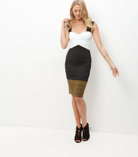 Black Colour Block Bandage Bodycon Dress  | New Look