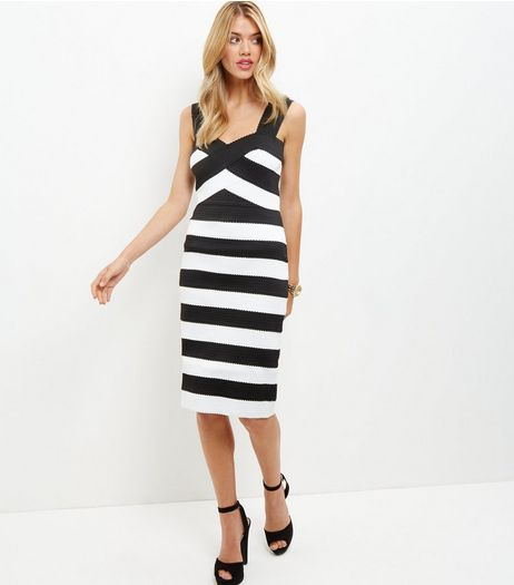 Monochrome Stripe Bandage Bodycon Midi Dress  | New Look