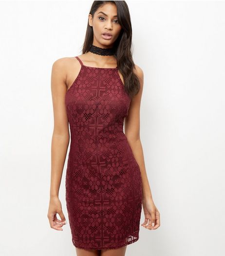 Burgundy Lace High Neck Bodycon Dress  | New Look