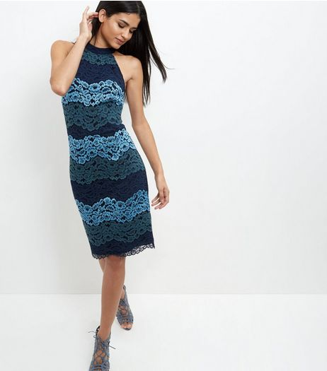 Blue Premium Stripe Lace High Neck Midi Dress | New Look