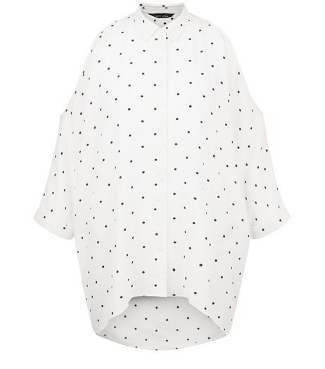 White Spot Print Cold Shoulder Shirt | New Look