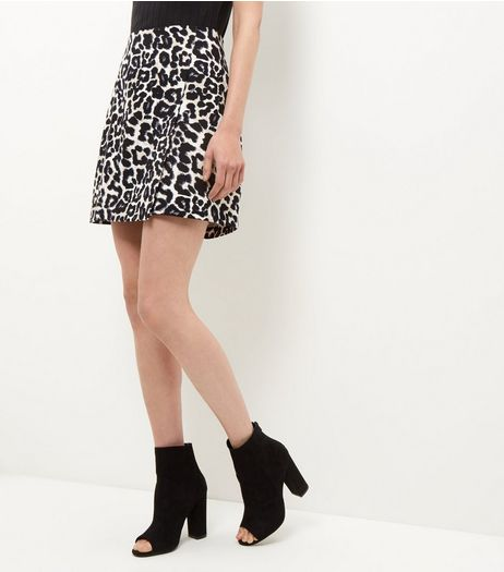 Black Animal Print Wrap Front Mini Skirt  | New Look