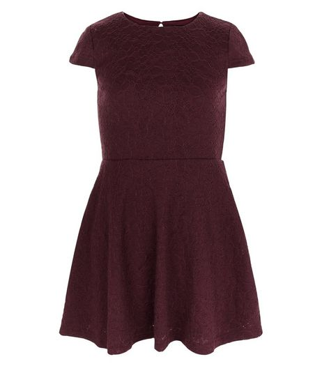 Girls Burgundy Lace Skater Dress | New Look