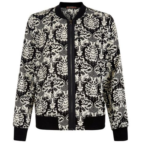 Black Abstract Print Bomber Jacket  | New Look