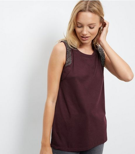 Anita and Green Burgundy Embellished Trim Vest | New Look