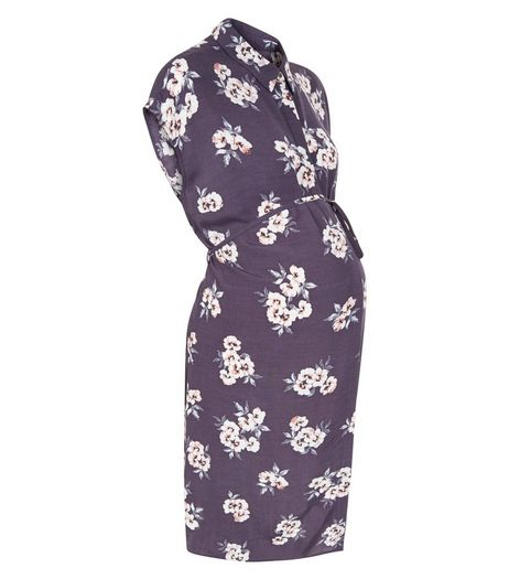 Maternity Purple Floral Print Shirt Dress | New Look