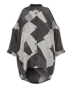 Black Abstract Print Cold Shoulder Shirt | New Look