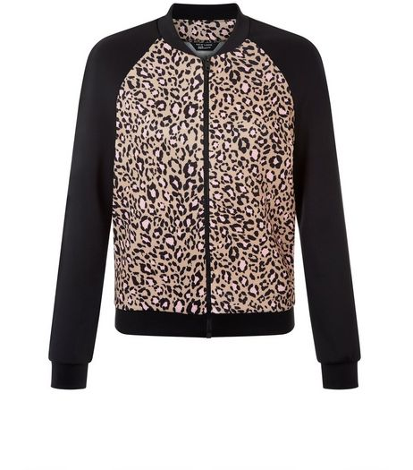Teens Black Leopard Print Colour Block Bomber Jacket | New Look