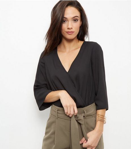 Black Wrap Front 3/4 Sleeve Bodysuit  | New Look