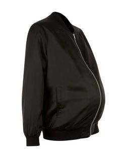 Maternity Black Sateen Bomber Jacket | New Look
