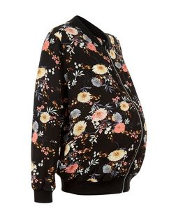 Maternity Black Floral Print Bomber Jacket | New Look