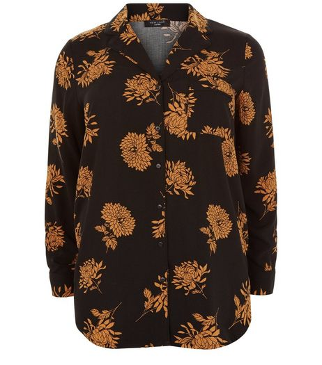 Curves Black Floral Print Pyjama Shirt | New Look
