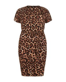 Curves Brown Animal Print Pleated Dress | New Look