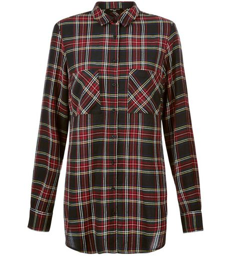 Tall Black Tartan Check Long Sleeve Shirt | New Look