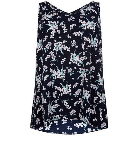 Curves Blue Floral Print V Neck Shell Top | New Look