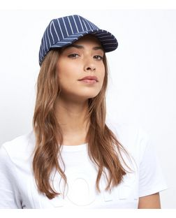 Blue Pinstripe Baseball Cap | New Look
