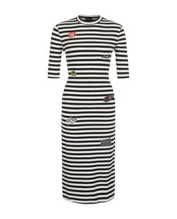 Black Stripe Badge Bodycon Dress | New Look