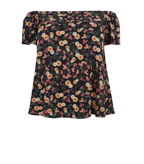 Curves Black Floral Print Bardot Neck Top | New Look