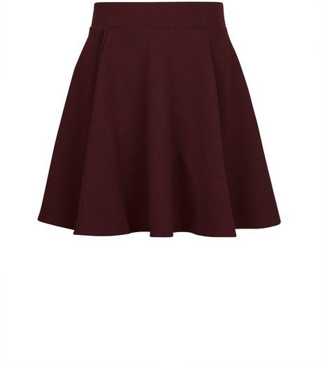 Teens Burgundy Skater Skirt | New Look