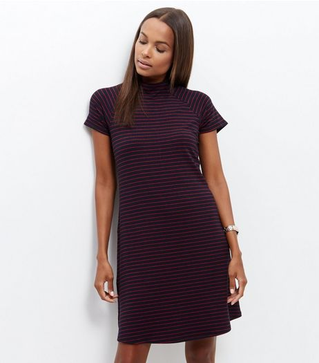 Blue Stripe Funnel Neck Mini Dress  | New Look