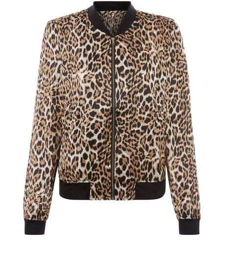 Brown Animal Print Bomber Jacket  | New Look
