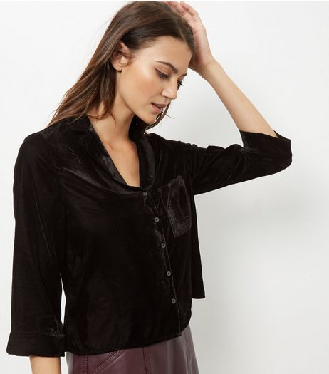 Black Velvet Cropped Shirt  | New Look
