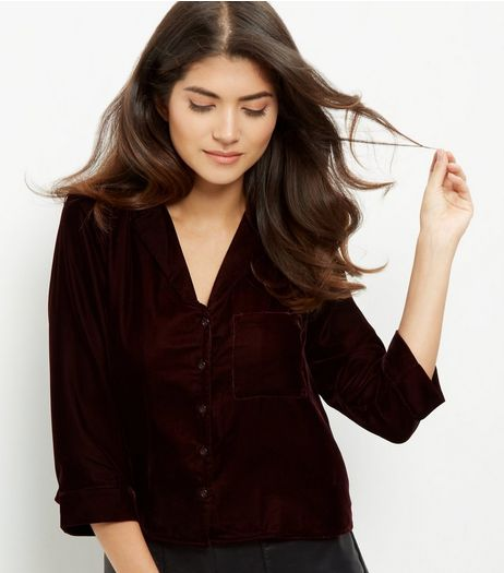 Dark Purple Velvet Cropped Shirt  | New Look