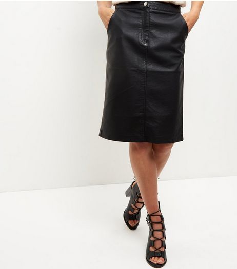 Black Leather-Look Zip Front Midi Skirt  | New Look