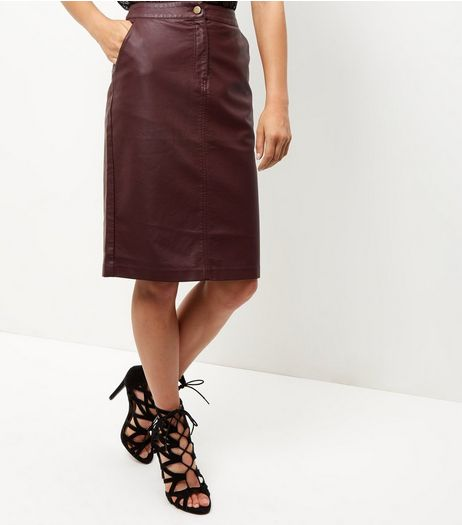 Burgundy Leather-Look Zip Front Midi Skirt  | New Look