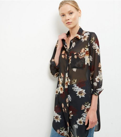 Black Flower Print Chiffon Shirt | New Look