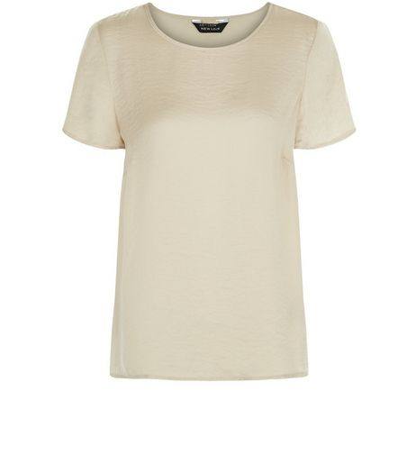Cream Satin T-Shirt | New Look