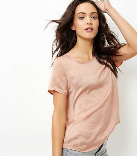 Camel Sateen T-Shirt | New Look