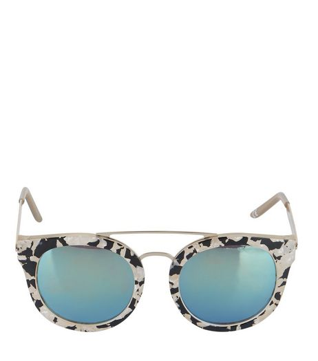 Cream Animal Print Mirrored Sunglasses | New Look