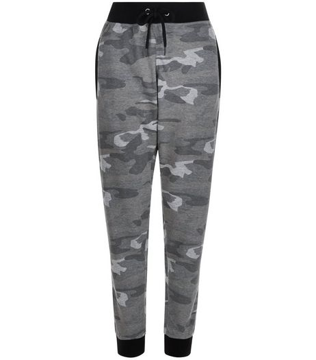Khaki Washed Camo Print Joggers  | New Look