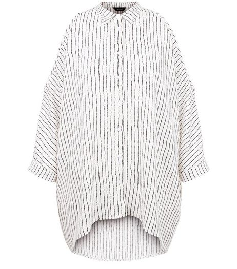 White Pinstripe Dip Hem Cold Shoulder Shirt | New Look