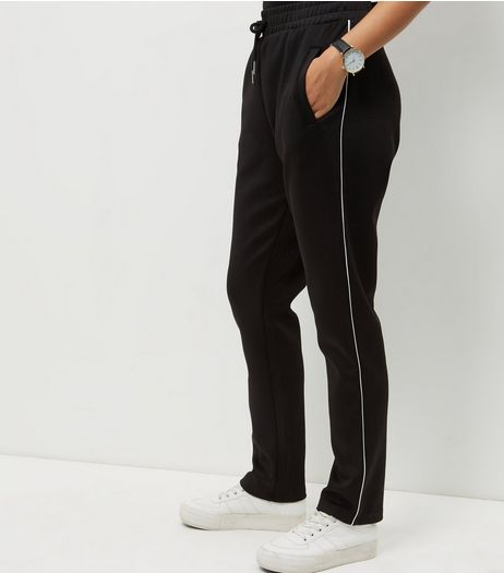 Black Contrast Trim Straight Leg Joggers | New Look
