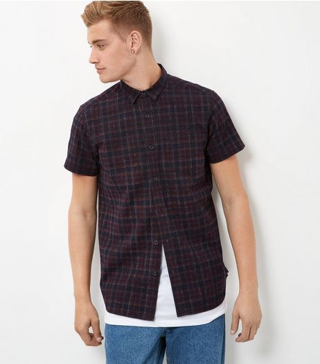 Burgundy Tartan Check Short Sleeve Shirt  | New Look
