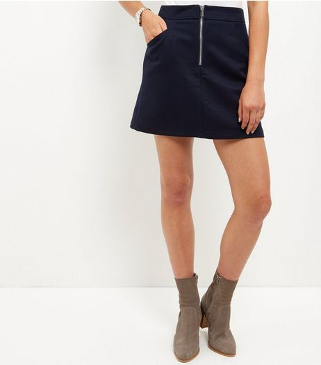 Navy Zip Front A-line Mini Skirt | New Look