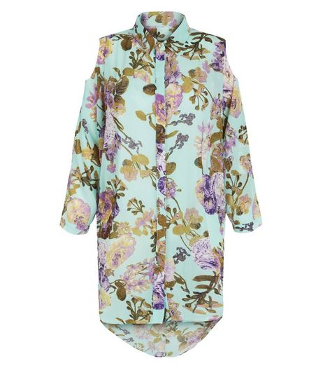 Blue Vanilla Blue Floral Print Cold Shoulder Shirt  | New Look
