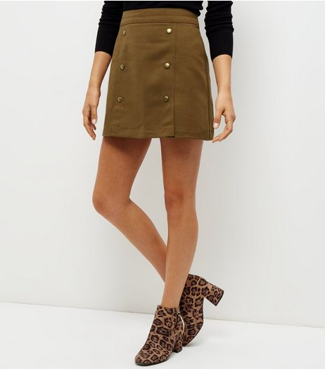 Olive Green Button Front A-Line Skirt | New Look