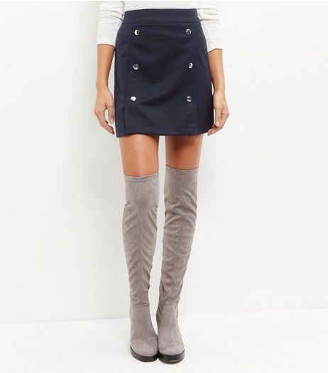 Navy Button Front A-Line Skirt | New Look