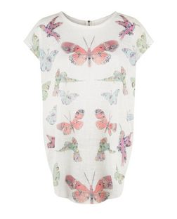 Blue Vanilla Coral Butterfly Print Zip Back Top | New Look