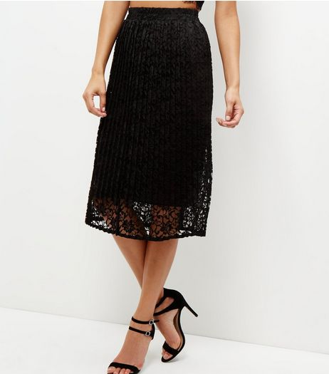 Black Lace Balloon Midi Skirt  | New Look