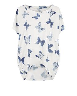 Blue Vanilla Blue Butterfly Print Oversized Top | New Look