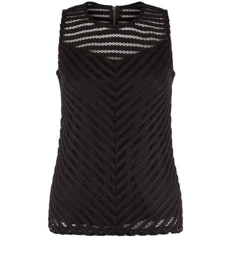 Apricot Black Mesh Chevron Sleeveless Top | New Look
